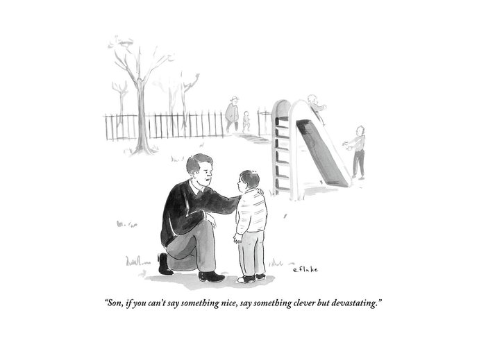 Advice Greeting Card featuring the drawing A Father Encourages His Son At The Playground by Emily Flake