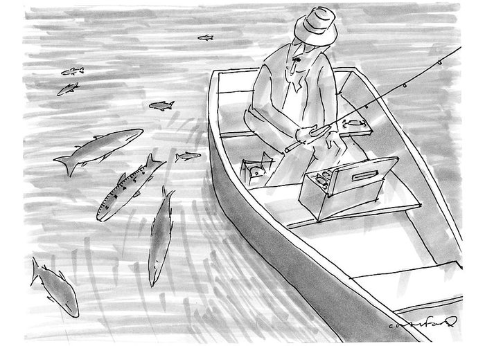 Fishing Greeting Card featuring the drawing A Fisherman On A Rowboat Looks At The Fish by Michael Crawford