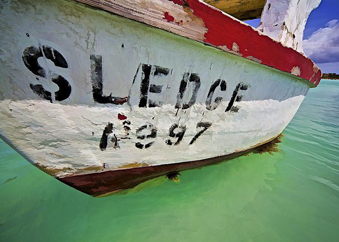 Anchored Greeting Card featuring the photograph A Fishing Boat Named Sledge by David Letts