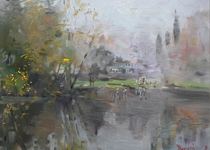 Foggy Greeting Card featuring the painting A Foggy Fall Day By The Pond by Ylli Haruni