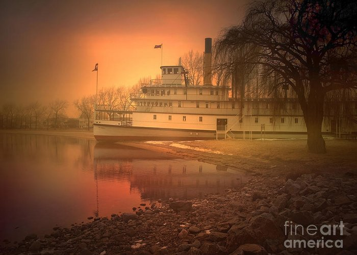 Ss Sicamous Greeting Card featuring the photograph A Foggy Sunrise by Tara Turner