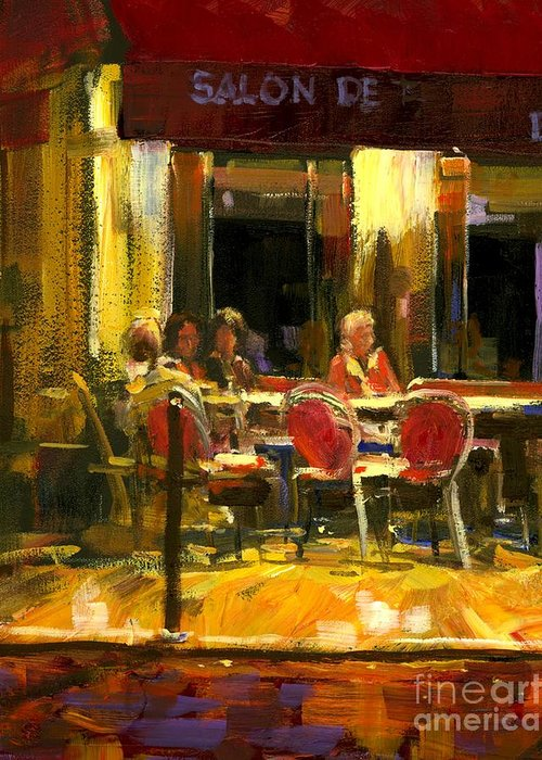 French Cafe Greeting Card featuring the painting A French Cafe And Friends by Michael Swanson