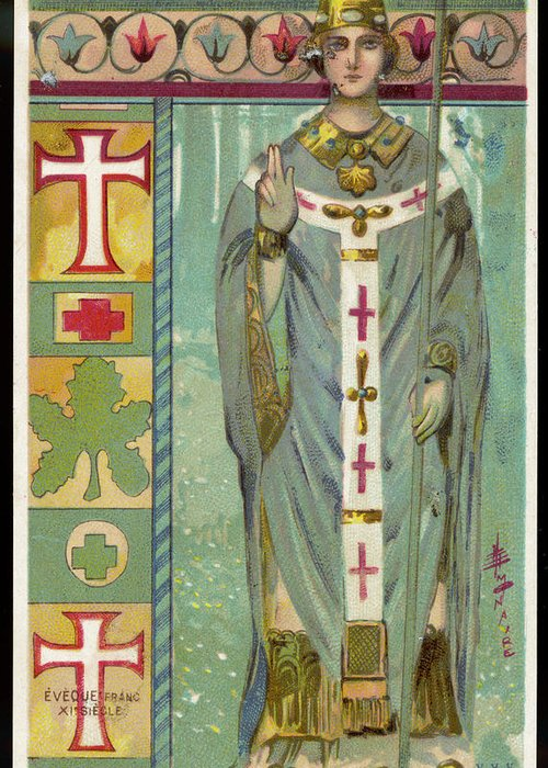 A french roman catholic bishop in full greeting card for sale by costume greeting card featuring the drawing a french roman catholic bishop in full by mary evans m4hsunfo