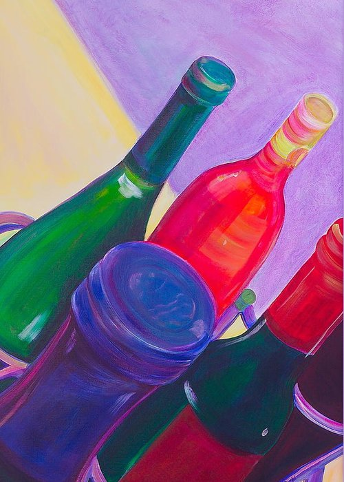 Wine Greeting Card featuring the painting A Full Rack by Debi Starr
