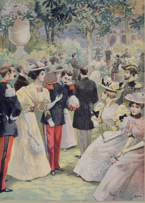 Garden-party Greeting Card featuring the painting A Garden Party At The Elysee by Fortune Louis Meaulle