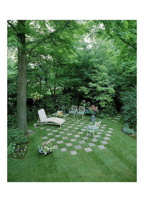 Decorative Art Greeting Card featuring the photograph A Garden With Checkered Pavement by Pedro E. Guerrero