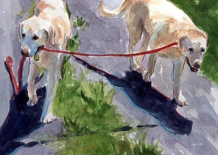 Yellow Labrador Greeting Card featuring the painting A Gentle Lead by Molly Poole