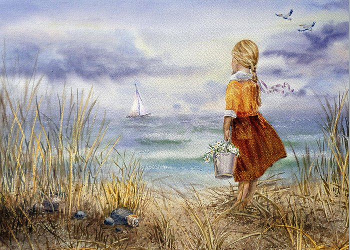 Girl And The Ocean Greeting Card featuring the painting A Girl And The Ocean by Irina Sztukowski