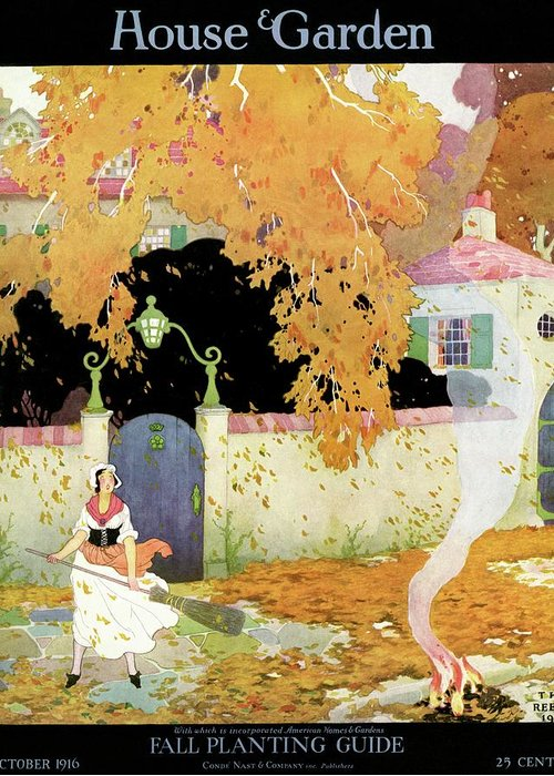 House And Garden Greeting Card featuring the photograph A Girl Sweeping Leaves by The Reeses