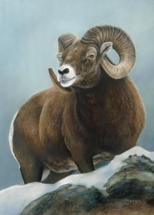 Big Horn Sheep Greeting Card featuring the pastel A Glimpse From The Edge by Karen Cade
