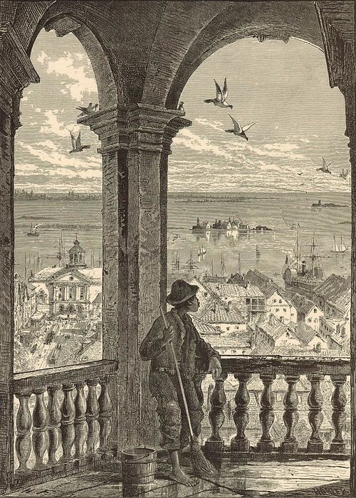 St. Michaels Greeting Card featuring the painting A Glimpse Of Charleston And Bay From St. Michael's Church 1872 Engraving By Harry Fenn by Antique Engravings