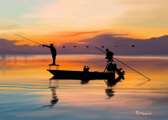 Fishing Boats Digital Art Greeting Cards