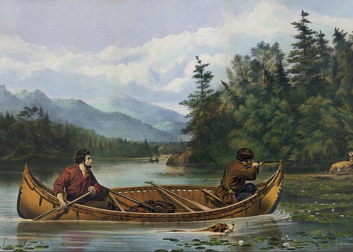 Canoe Drawings Greeting Cards