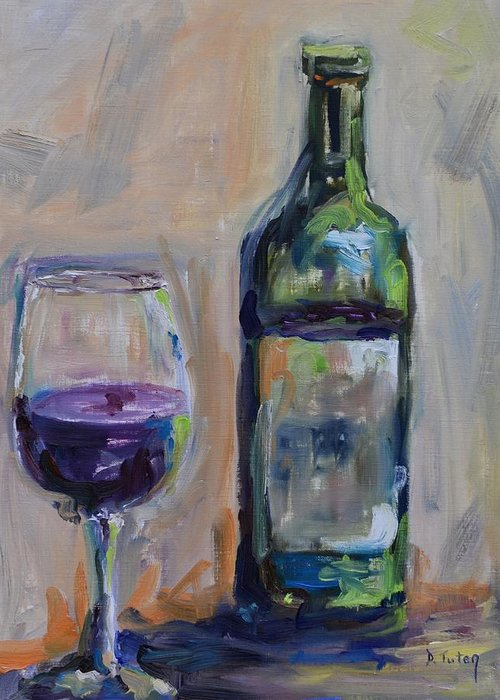 Wine Greeting Card featuring the painting A Good Pour by Donna Tuten