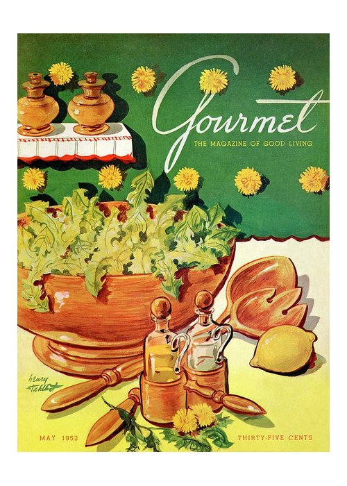 Food Greeting Card featuring the photograph A Gourmet Cover Of Dandelion Salad by Henry Stahlhut