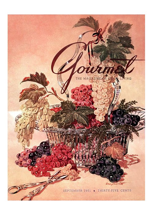 Illustration Greeting Card featuring the photograph A Gourmet Cover Of Grapes by Henry Stahlhut