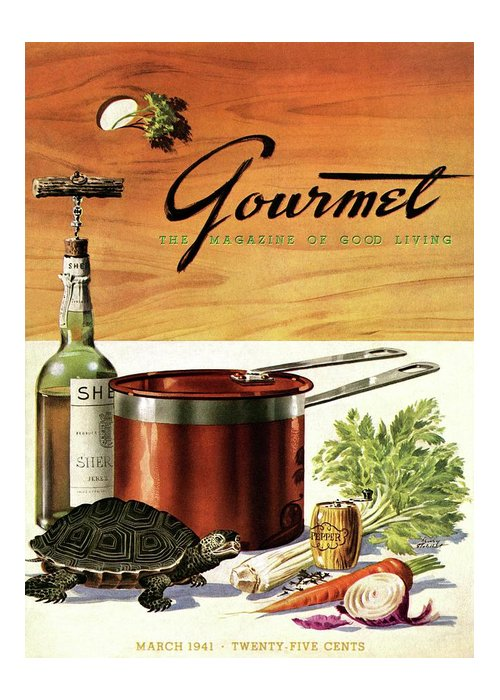 Illustration Greeting Card featuring the photograph A Gourmet Cover Of Turtle Soup Ingredients by Henry Stahlhut