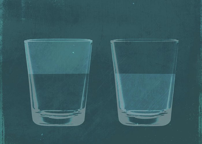 Part Of A Series Greeting Card featuring the digital art A Half Full Glass Of Water Next To A by Malte Mueller