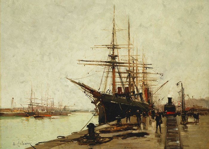 19th Century Greeting Card featuring the painting A Harbor by Eugene Galien-Laloue