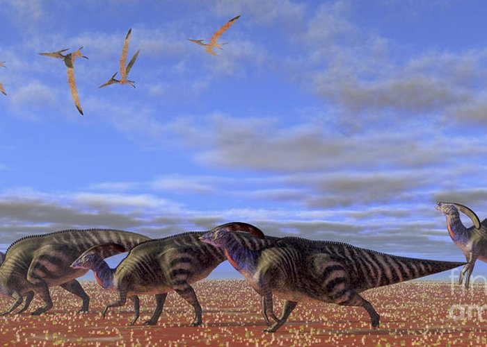 Parasaurolophus Greeting Card featuring the digital art A Herd Of Parasaurolophus Dinosaurs by Corey Ford