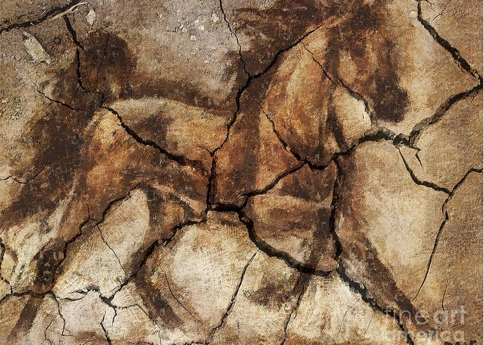 Animal Greeting Card featuring the drawing A Horse - Cave Art by Dragica Micki Fortuna