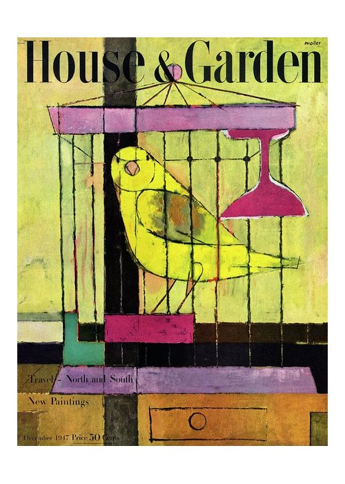 Illustration Greeting Card featuring the photograph A House And Garden Cover Of A Bird In A Cage by Hans Moller