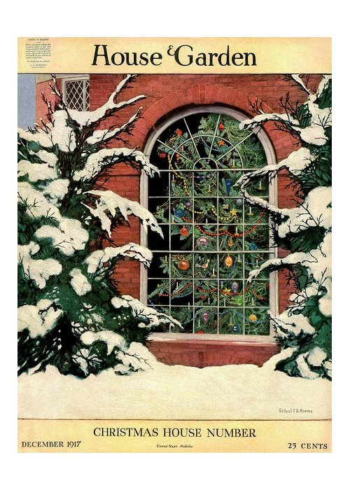 Illustration Greeting Card featuring the photograph A House And Garden Cover Of A Christmas Tree by Ethel Franklin Betts Baines
