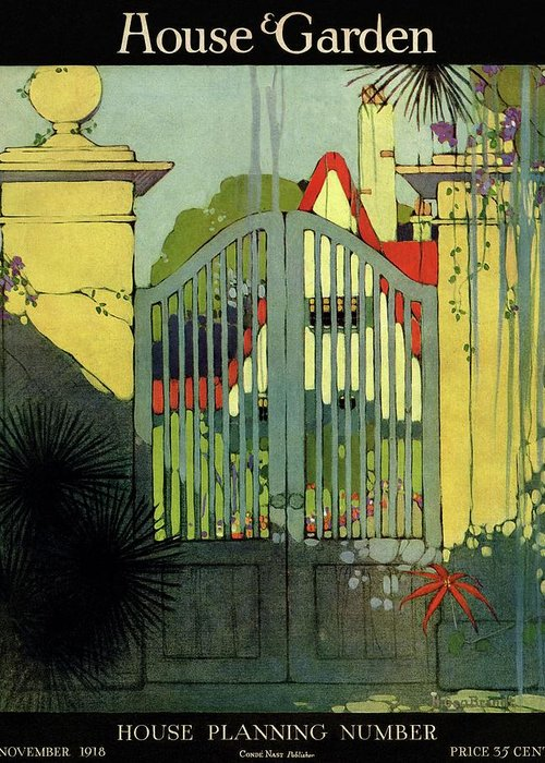 Illustration Greeting Card featuring the photograph A House And Garden Cover Of A Gate by H. George Brandt