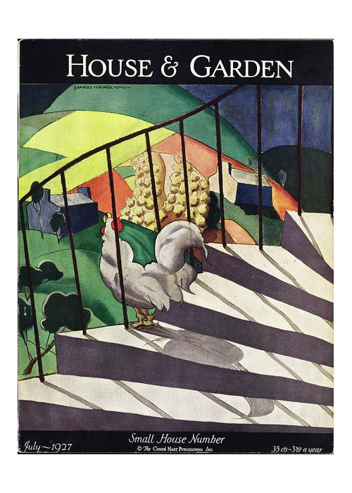 Illustration Greeting Card featuring the photograph A House And Garden Cover Of A Rooster by Bradley Walker Tomlin