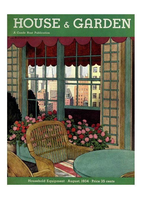 Illustration Greeting Card featuring the photograph A House And Garden Cover Of A Wicker Chair by Pierre Brissaud