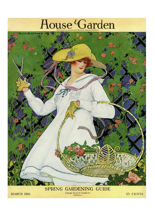 Illustration Greeting Card featuring the photograph A House And Garden Cover Of A Woman Gardening by Ruth Easton