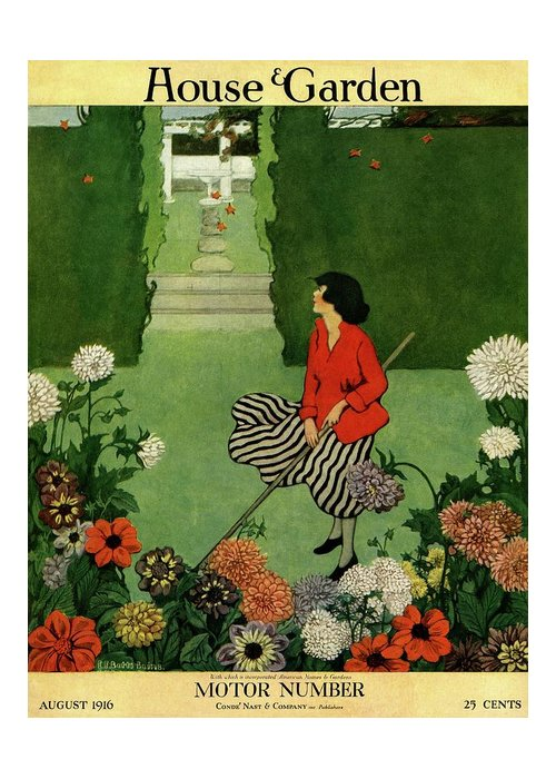 Illustration Greeting Card featuring the photograph A House And Garden Cover Of A Woman Raking Leaves by Ethel Franklin Betts Baines