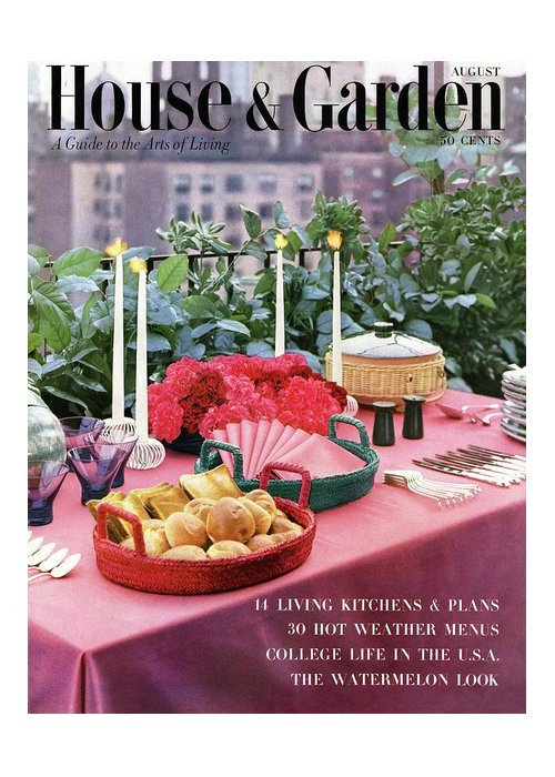 Travel Greeting Card featuring the photograph A House And Garden Cover Of Al Fresco Dining by Wiliam Grigsby