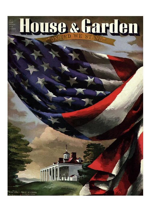 Illustration Greeting Card featuring the photograph A House And Garden Cover Of An American Flag by Allen Saalburg