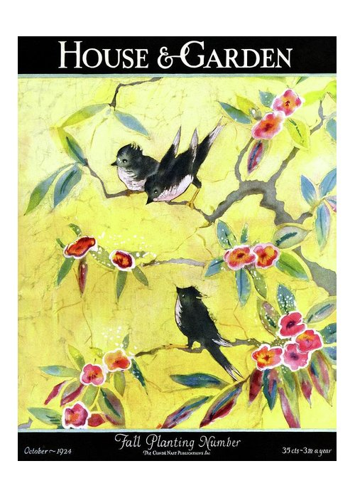 Illustration Greeting Card featuring the photograph A House And Garden Cover Of Chickadees by Leah Ramsay