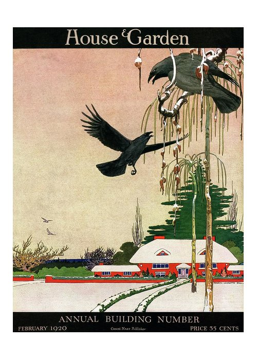 Illustration Greeting Card featuring the photograph A House And Garden Cover Of Crows By A House by Charles Livingston Bull
