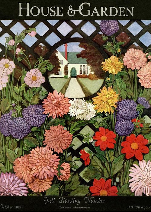 Illustration Greeting Card featuring the photograph A House And Garden Cover Of Flowers by Ethel Franklin Betts Baines