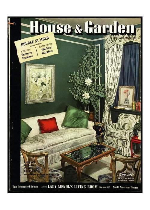 Home Accessories Greeting Card featuring the photograph A House And Garden Cover Of Lady Mendl's Sitting by Urban Weis