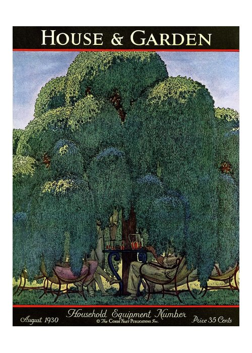 Illustration Greeting Card featuring the photograph A House And Garden Cover Of People Dining by Pierre Brissaud