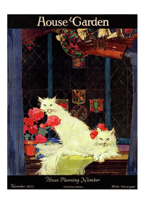 Illustration Greeting Card featuring the photograph A House And Garden Cover Of White Cats by Bradley Walker Tomlin