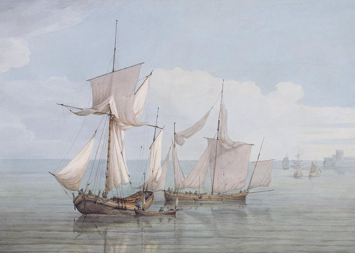 Boat Greeting Card featuring the painting A Hoy And A Lugger With Other Shipping On A Calm Sea by John Thomas Serres