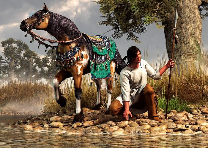 Greeting Card featuring the digital art A Hunter And His Horse by Daniel Eskridge