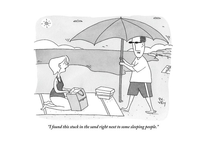Beach Umbrella Greeting Card featuring the drawing A Husband Returns To His Wife At The Beach Having by Peter C. Vey