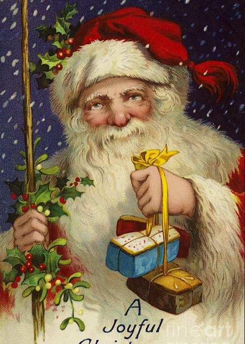 Christmas; Greeting; Card; Printed; Ephemera; Century; Father Christmas; Santa Claus; Presents; Gifts; Holly; Misteltoe; A Joyful Christmas Greeting Card featuring the painting A Joyful Christmas by English School