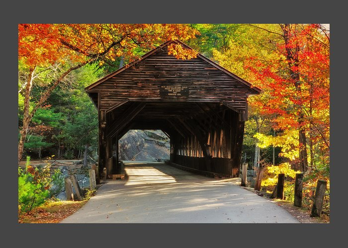 Albany Covered Bridge Greeting Card featuring the photograph A Kancamagus Gem - Albany Covered Bridge Nh by Thomas Schoeller