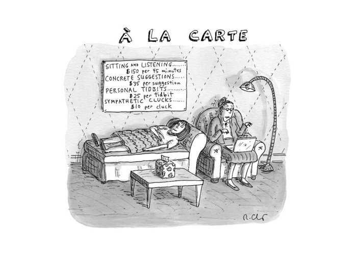 Captionless Therapy Greeting Card featuring the drawing A La Carte -- Therapy Where A Placard Lists by Roz Chast