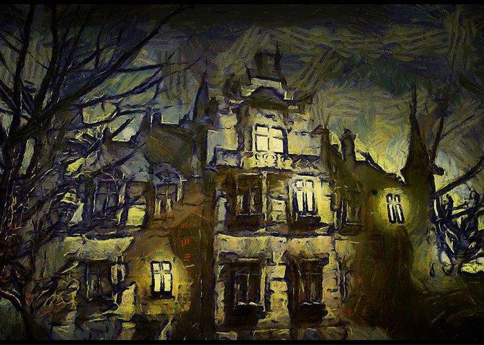 Landscape Greeting Card featuring the digital art a la van Gogh by Gun Legler