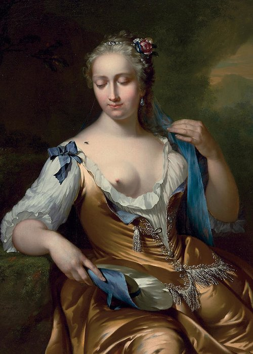 A Lady In A Landscape With A Fly On Her Shoulder Greeting Card featuring the painting A Lady In A Landscape With A Fly On Her Shoulder by Frans van der Mijn
