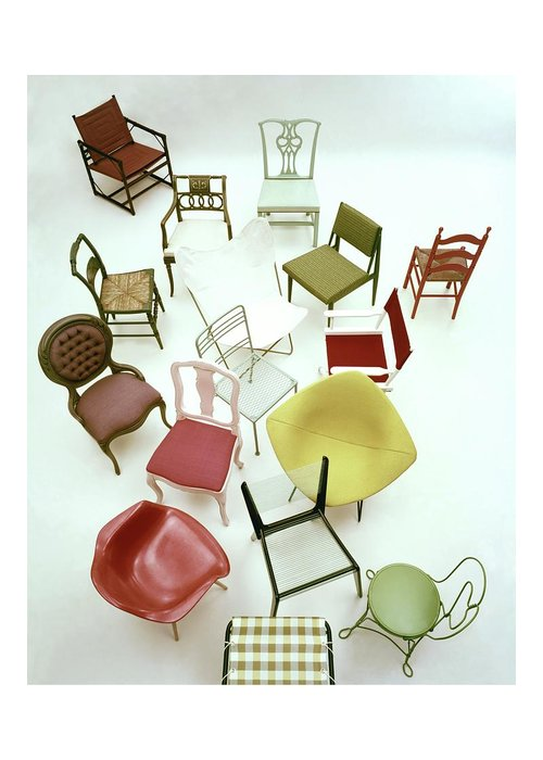 Renovation Greeting Card featuring the photograph A Large Group Of Chairs by Herbert Matter