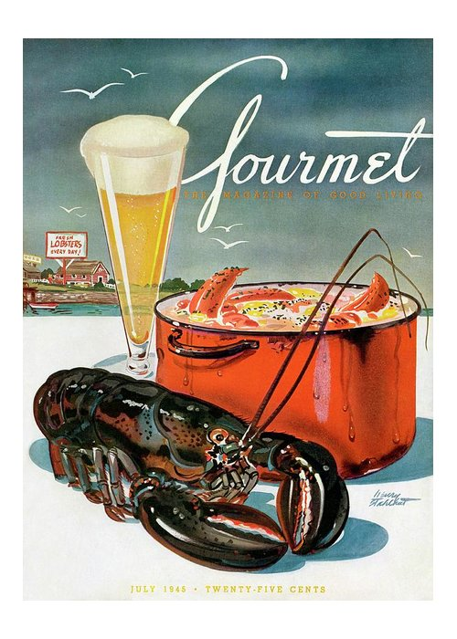 Illustration Greeting Card featuring the photograph A Lobster And A Lobster Pot With Beer by Henry Stahlhut